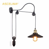 Industrial Wall Lamp Retro wall Light Retro Loft wall light fixture Adjustable Iron Pulley lamp bedroom restaurant corridor cafe