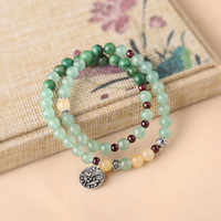 Original double bracelet dong ling jade retro national wind stone bracelets green hand painted simple lady