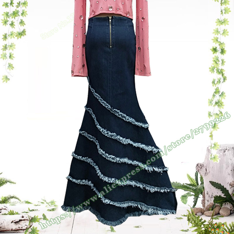 2019 Female Vintage Sexy Irregular Tassel Mermaid Slim Bag Hip Jeans fishtail stitching Maxi skirt Denim