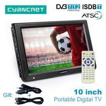 LEADSTAR 10 дюймов HD Портативный ТВ DVB-T2 ATSC ISDB-T цифровых и аналоговых мини маленький автомобиль телевидения Поддержка USB SD карты MP4 AC3