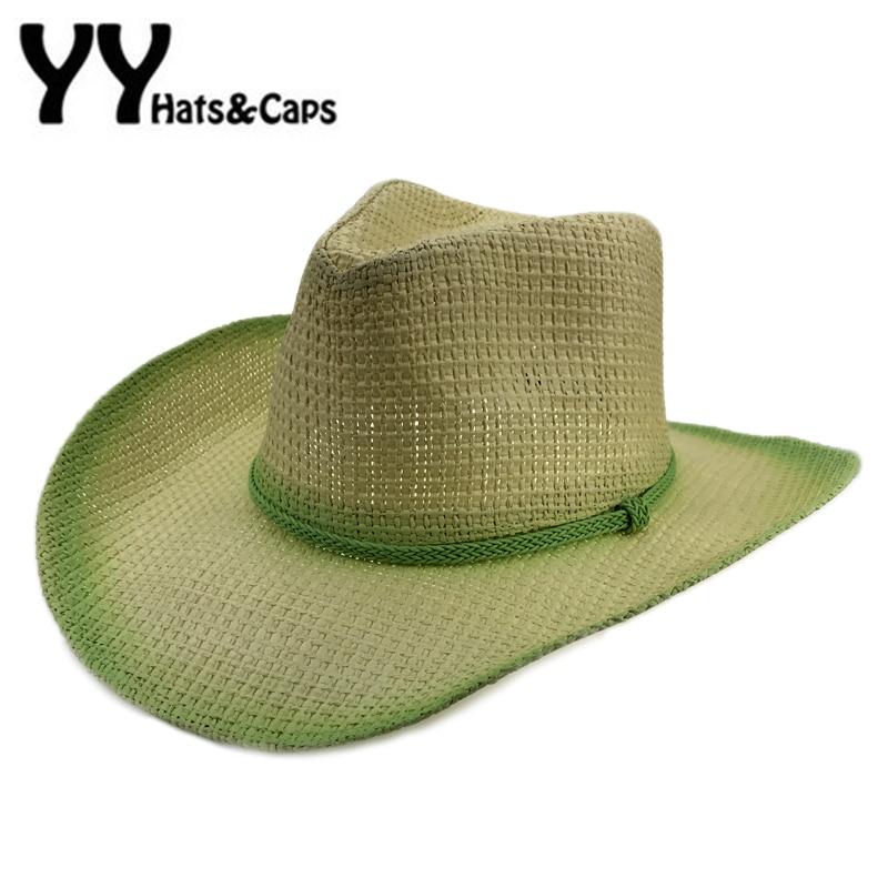 Oeste Cowboy Homens Praia Da Palha Chapéu de Vaqueiro Jazz CAP Mulheres  Verão chapéus de sol Pesca Cap Viagem Cap Legal Ocidental Cowboy Chapéus  YY17163 e2c71dca1c