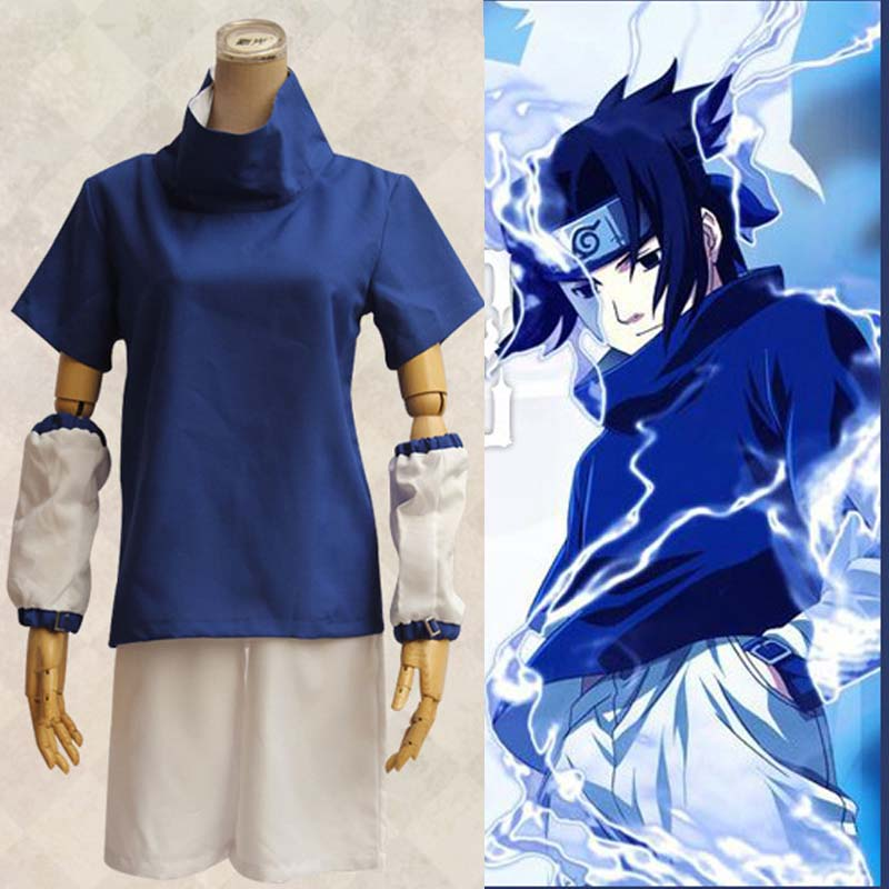 Athemis Naruto Uchiha Sasuke Cosplay Costume Anime Cosplay Adult Costume Suit Top+Short Stitched High Quality Spot Fast Shipping