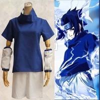 Athemis Naruto Uchiha Sasuke Cosplay Kostüm Anime Cosplay Yetişkin Kostüm Suit Üst + Kısa Dikişli Yüksek Kalite Nokta Hızlı Kargo