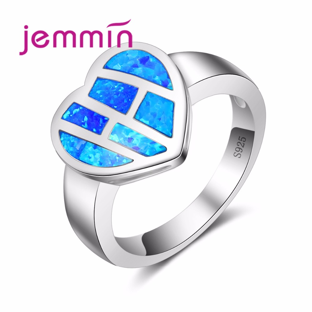925 Sterling Silver For Women Wedding Rings Bague Heart Shaped Blue Fire Opal Ring Femme Fashion Jewelry Gift
