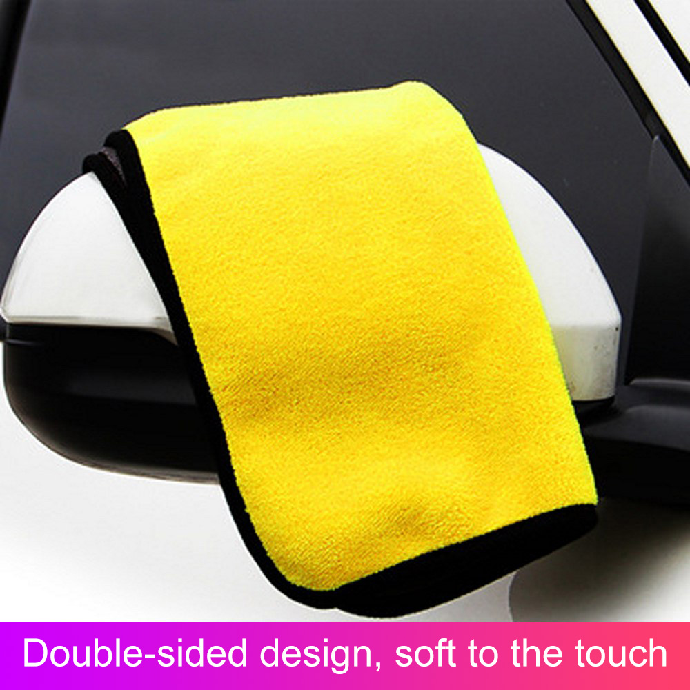 Image 2 - 30*30/60CM Car Wash Towel Microfiber yellow gray sides Cleaning Drying Towe Coral velvet double sided designCar Wash Towel-in Sponges, Cloths & Brushes from Automobiles & Motorcycles