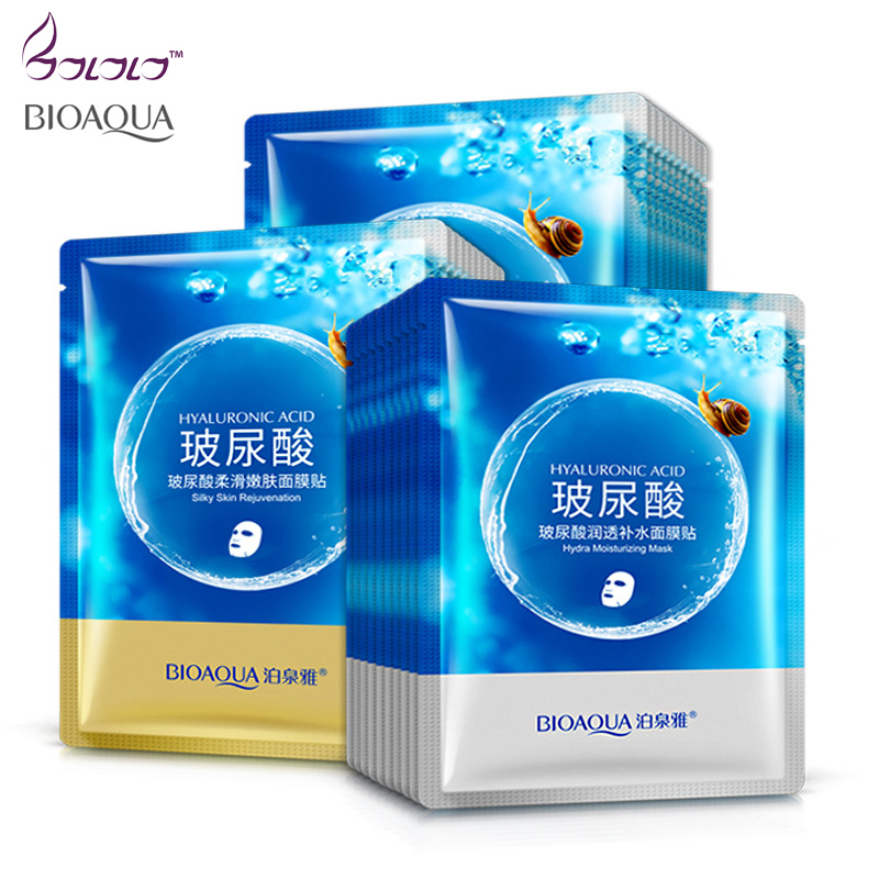 BIOAQUA Brand Face Mask Hyaluronic Acid Snail Depth Replenishment Mask Moisturizing Masks Anti Aging Wrinkle Facial Skin Care hyaluronic acid face moisturizing mask anti wrinkle taiwan thin silk sheet mask plant extract natural no additives chrng