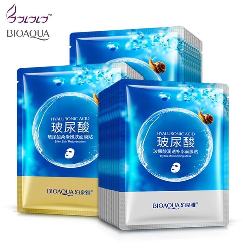 BIOAQUA Brand Face Mask Hyaluronic Acid Snail Depth Replenishment Mask Moisturizing Masks Anti Aging Wrinkle Facial Skin Care