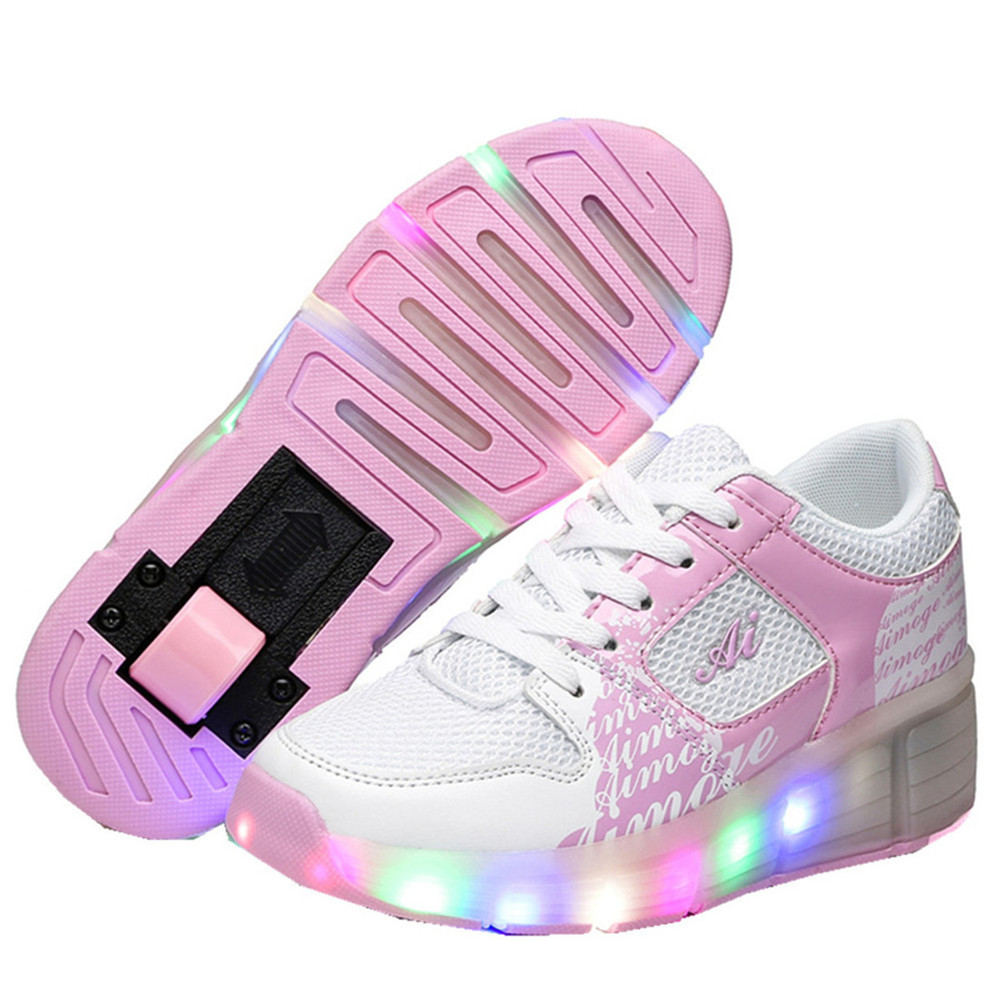 цена на 2018 Child Jazzy Heelys, Junior Girls&Boys LED Light Heelys, Children Roller Skate Shoes, Kids Sneakers With Wheels 16 colors