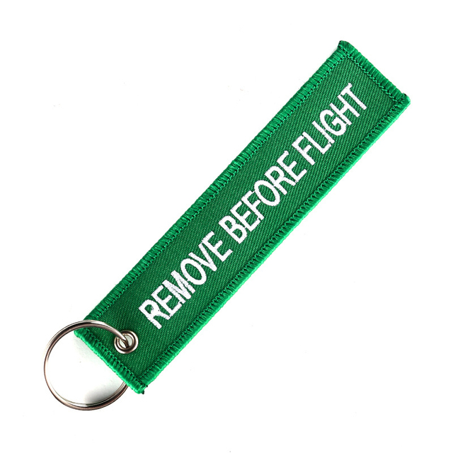 Doreen Box Remove Before Flight Fashion Tags Keychain Keyring Rectangle Polyester Embroidery Message 13*3CM Multicolor 1 Piece 3