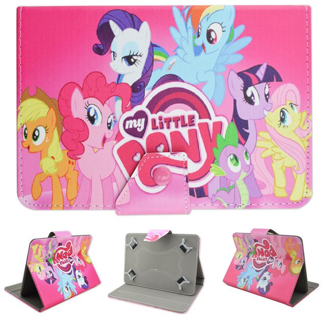 """10.1inch Mon petit Poney Cartoon Leather Protective Folio Case Cover Folio Stand for iRULU eXpro X1s X1Plus 10.1 """" Tablet PC"""