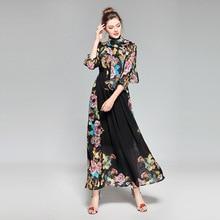 Urumbassa Women three quarter sleeve bohemian dress 2018 spring floral print elegant dress Fashion ladies vacation chiffon dress