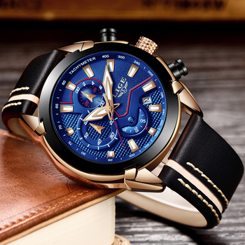 LIGE Men's Fashion Design Leather Date Chronograph Quartz Watches 2