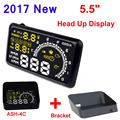 "5.5"" Screen Auto OBDII Car HUD OBD2 Port Head Up Display KM/h MPH Overspeed Warning Windshield Projector Alarm System + Bracket"