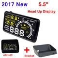 """5.5 """"pantalla Puerto OBD2 OBDII Auto Car HUD Head Up Display KM/h MPH Sobrevelocidad Advertencia Parabrisas Proyector Sistema de Alarma + soporte"""