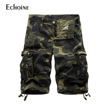 2019 Summer New Mens Casual Multi-Pockets Cotton Camouflage Cargo Male Loose Work Man Military Short Pants Plus Size
