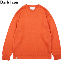 Dark Icon Round Neck Solid Color Mens Sweater Pullover High Street Sweaters for Men 5Colors