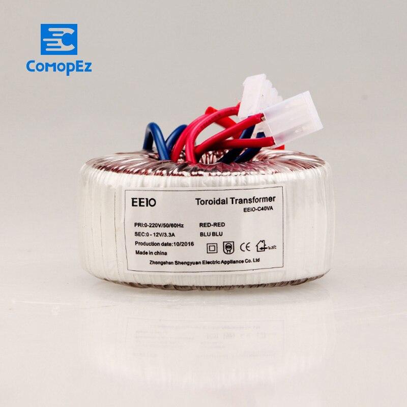 Transformateur toroïdal 40 W AC 220 V à AC 12 V cuivre personnalisé transformateur de puissance amplificateur anneau transformateur