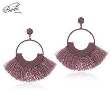 Badu Autumn Winter Vintage Earrings for Women Big Round Cotton Tassel Drop Large Statement Christmas Jewelry Wholesale