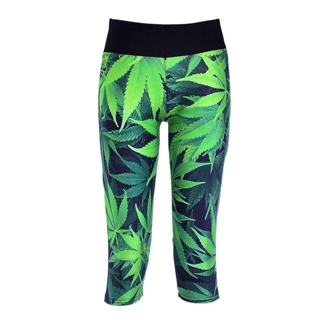S-XL Sexy Women Capris pants women legging Green Leaf digital print women  high waist pants 3dbdc3518139