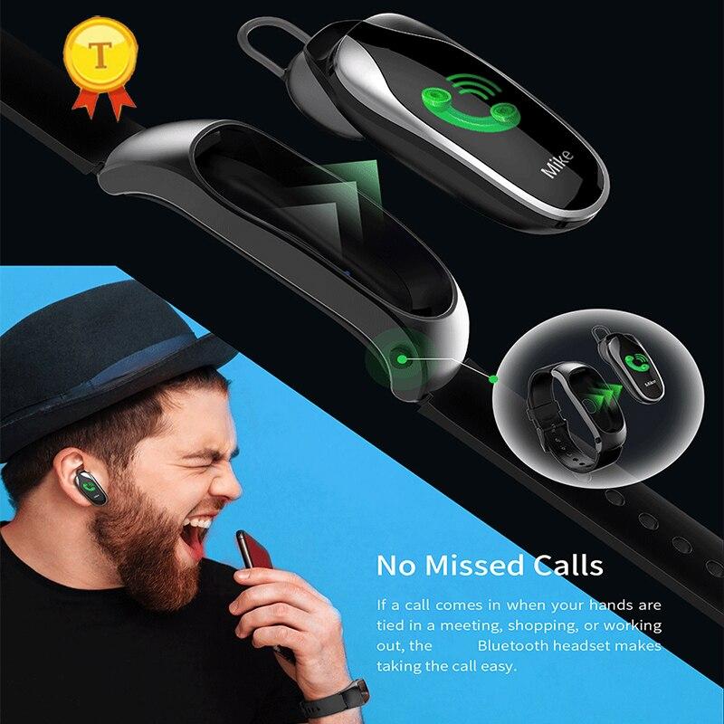 Smart Bluetooth casque réponse appel Bracelet passomètre fréquence cardiaque Fitness Smart Talk Bracelet écouteur pour Android IOS montre