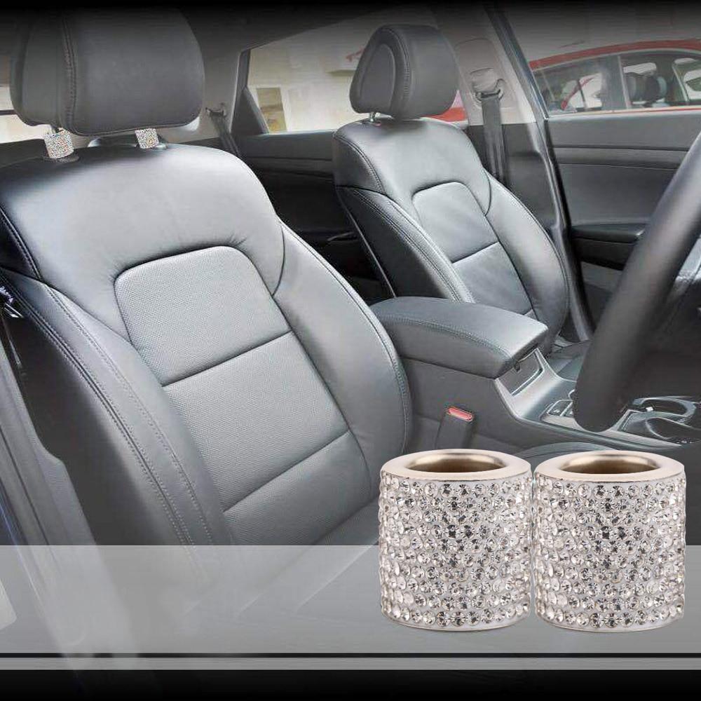 4pcs Chrome Crystal Bling Auto Car Headrest Collar Interior Head Rest Pole Décor
