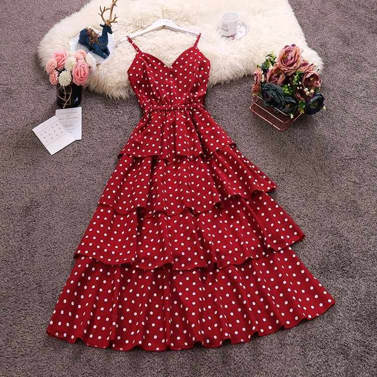Chiffon Cake Vrouwen Jurk Polka Dot Spaghetti Band V-hals Cascading Ruches Hoge Taille Grote Swing Jurk Casual Beach Party Dress