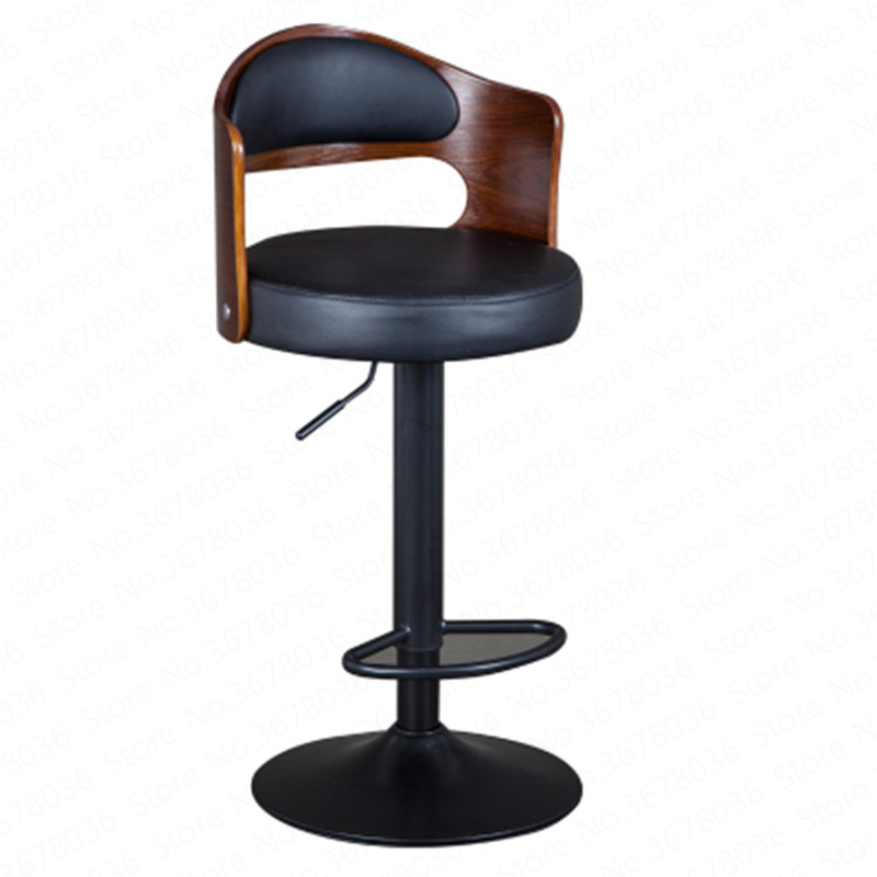 New European Bar Stool Solid Wood Bar Stool Home Retro Back Lift Rotary High Stool Front Desk Cashier Bar Chair