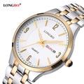 Longbo casual pareja amantes de cuarzo relojes reloj masculino de acero inoxidable reloj de pulsera con fecha del calendario y resistente al agua 80084