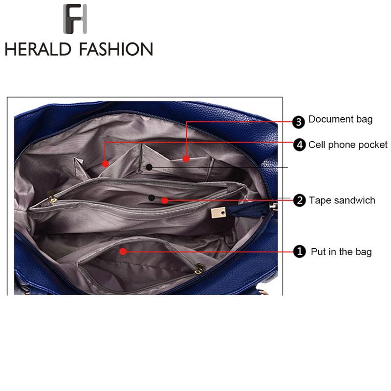 Herald Fashion Designer Women Handbag Female PU Leather Bags Handbags Ladies Portable Shoulder Bag Office Ladies Hobos Bag Totes 5