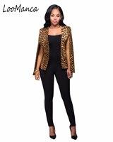 2018 새로운 표범 여성 블레이저 재킷 여성 슬림 코트 유럽 스타일 숙녀 긴 소매 feminino 작업 재킷
