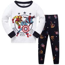 1b425bb55c Nuevo otoño niños pijamas conjuntos para niños niñas 3-8 años de manga  larga Super Hero niños ropa algodón inicio desgaste