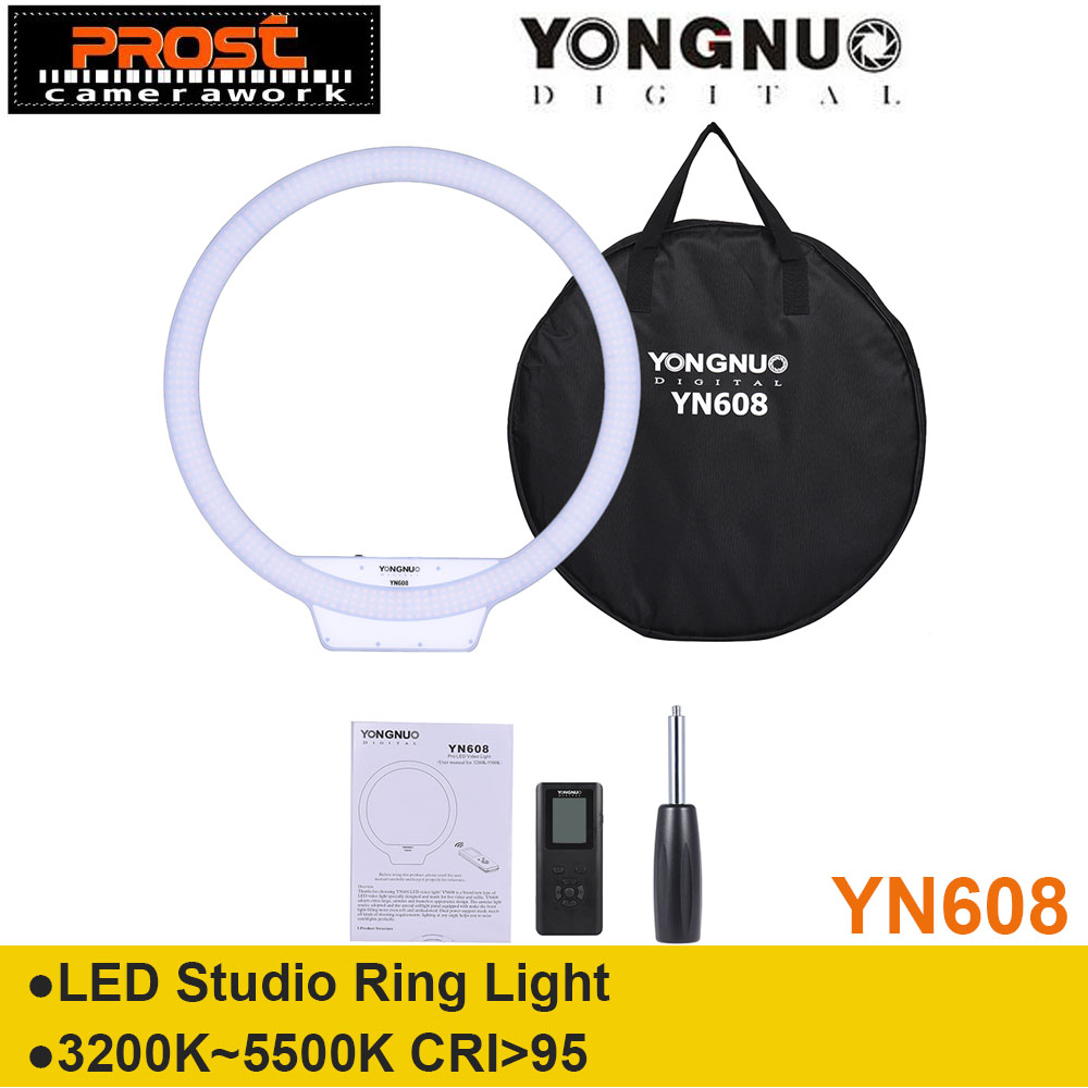 YONGNUO YN608 Annular Selfie Ring Light 3200K~5500K Bi Color Temperature Wireless Remote LED Video Light CRI>95 with Handle Grip