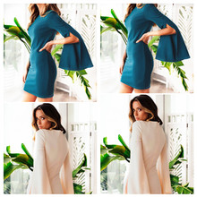 S-2XL o neck long petal sleeve dress mini dress night evening party slim tight short dress spring autumn casual leisure dress fashion spring summer short sleeve dress big size s 2xl women casual beach party slim dress cool t shirt casual dress
