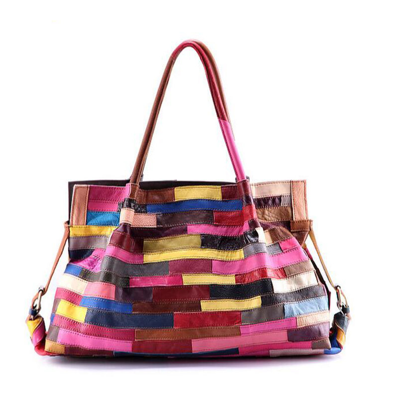 Famous Brand Women Genuine Leather Handbag Fashion Colorful Patchwork Handbag Female Big Bag Ladies Large Capacity Tote Bolsos female handbag bag fashion women genuine leather cowhide large shoulder bag crossbody ladies famous brand big bags high quality