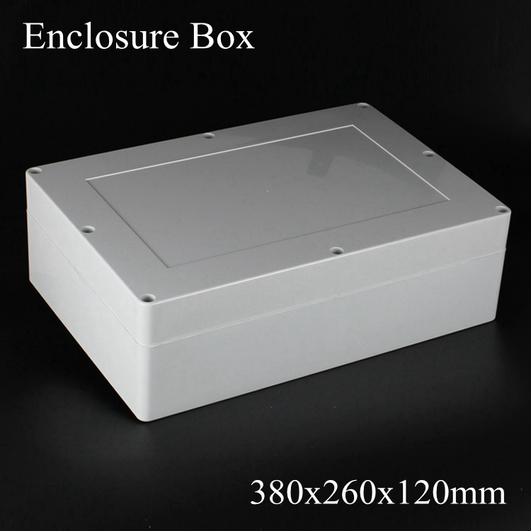 (1 piece/lot) 380x260x120mm Grey ABS Plastic IP65 Waterproof Enclosure PVC Junction Box Electronic Project Instrument Case цена