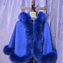 Ребенок девочка age6/9 length50cm натуральным лисьим мехом синий цвет пончо с капюшоном кашемировая шаль