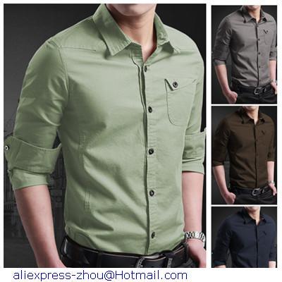 7940aaefda1 2015 New Camisas Mens Casual Slim Fit Shirts Plain Cotton Men Long Sleeve  Shirt Camisa Social Masculina 6 Colors XXL XXXL Shirts