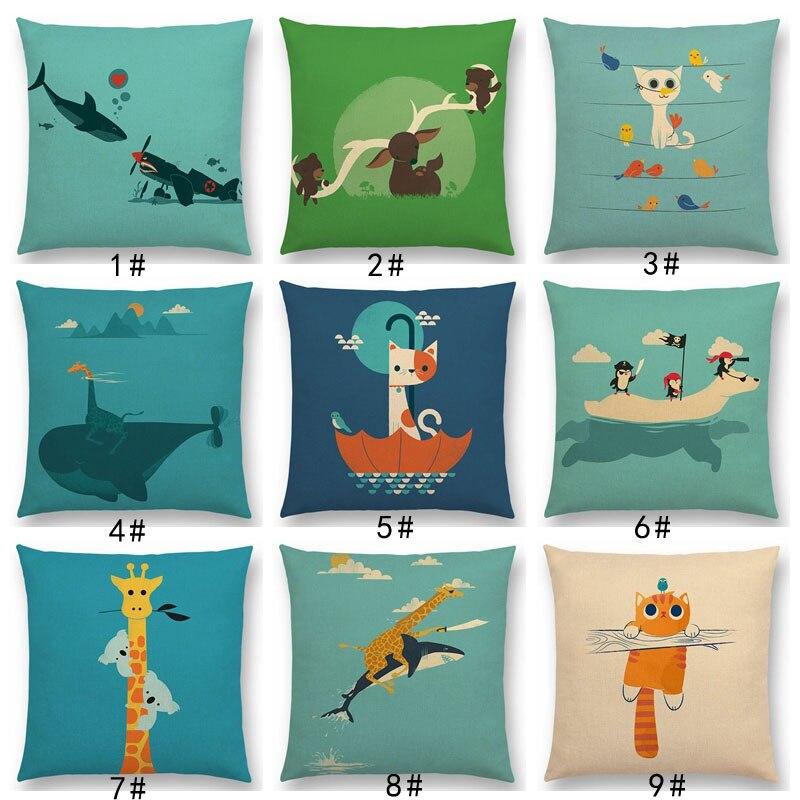 Home Decor Latest Cartoon Animals Elephant Lion Tiger Sloth Penguin Shark Dog Whale Troll Bird Cushion Cover Car Sofa Throw Pillow Case Discounts Price