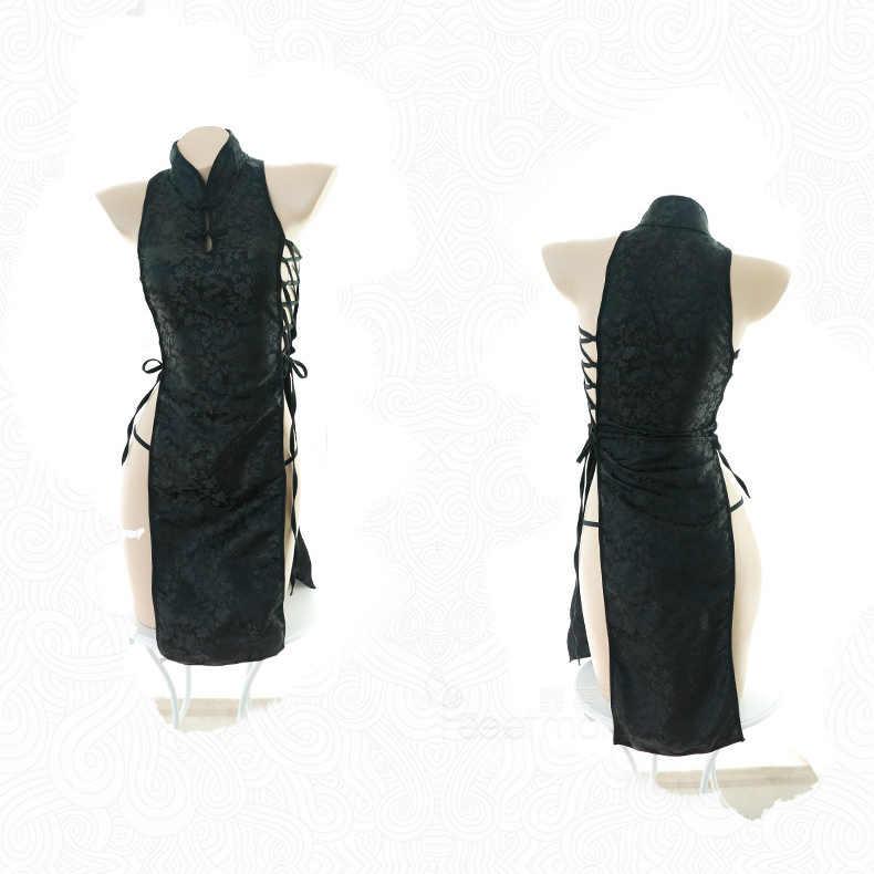Жаккардовое сексуальное Бандажное мини-платье с разрезом, китайское традиционное чонсам, женское белье, Платья для вечеринок, униформа для ночного клуба