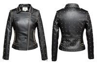 Women's Punk Rivets Studded Motorcycle PU Leather Spike Jacket Autumn Winter European Style Clothing Outerwear Women Coats 2017