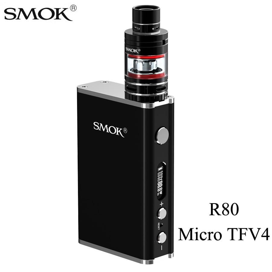 Electronic Cigarette Vape SMOK Micro TFV4 R80 TC Box Mod Kit Electronic Hookah Vaporizer E Cigarette  Hookah Pen Atta Tank X9024