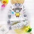 Мода Дети Одежда Наборы Baby boy пижамы костюмы Девушки пижамы Мультфильм Медведь пижамы хлопка с длинным рукавом рубашки + брюки