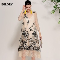 XXL Vintage Dress 2018 Spring Summer Top Quality Women Lux Embroidery Floral Three Quarter Sleeve Loose