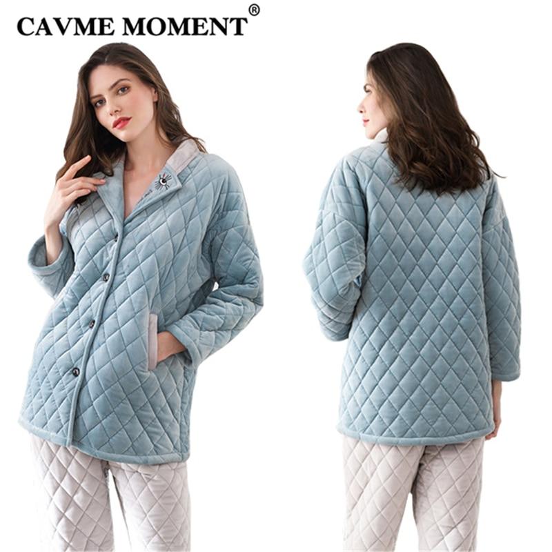 CAVME Winter Pajama Sets Luxury Women Femme Thicken Pajama Pants 2Pcs Ladies Turn down Collar Nightwear