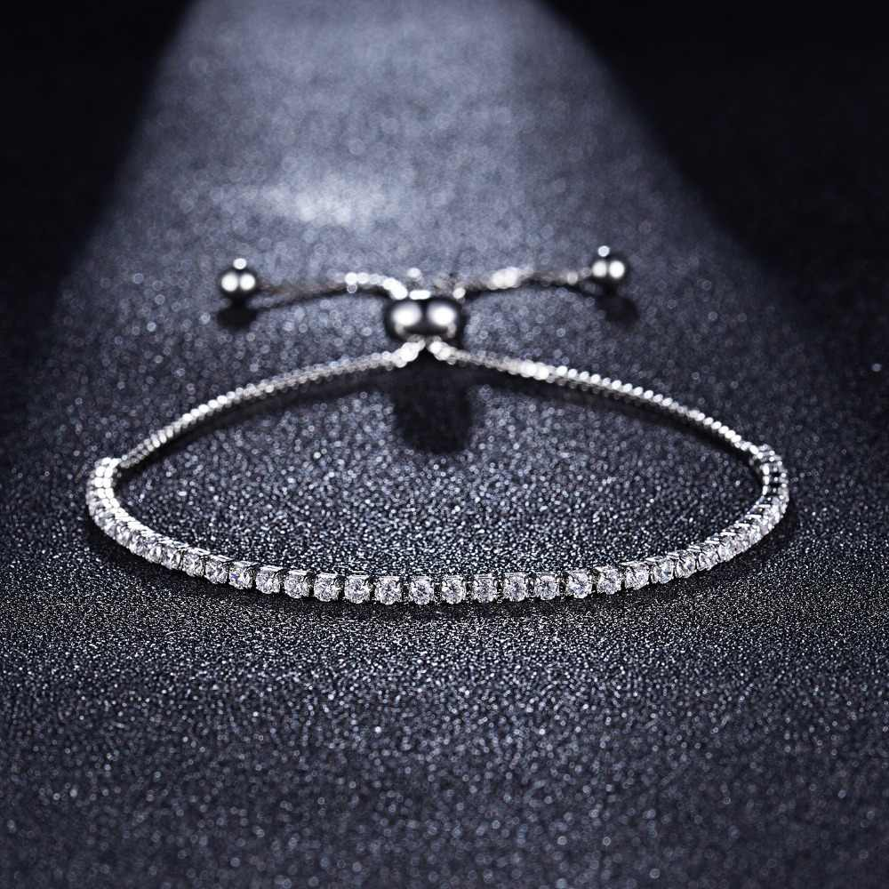 Rinhoo 2mm Iced Zircon Bracelet Luxury Vintage Single Row Micro-inlaid Zircon Bracelet Women Wedding Jewelry Bracelet Link 26cm