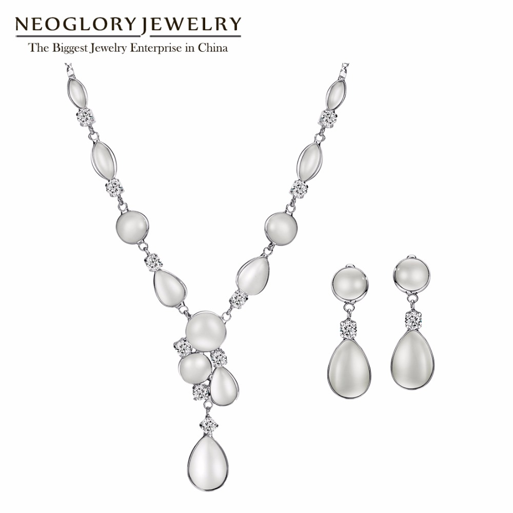 Neoglory Zircon White Romantic Jewelry Sets Engagement Jewelry Wedding Jewelry Sets For Women 2018 Fashion New Mother Gifts