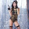 Ropa de Camuflaje Del Ejército de lujo Señoras de la Ropa Interior Conjuntos de Ropa Interior de Rol Uniformes Eróticos Sexo Femenino Vestido de Fiesta Traje de la Etapa