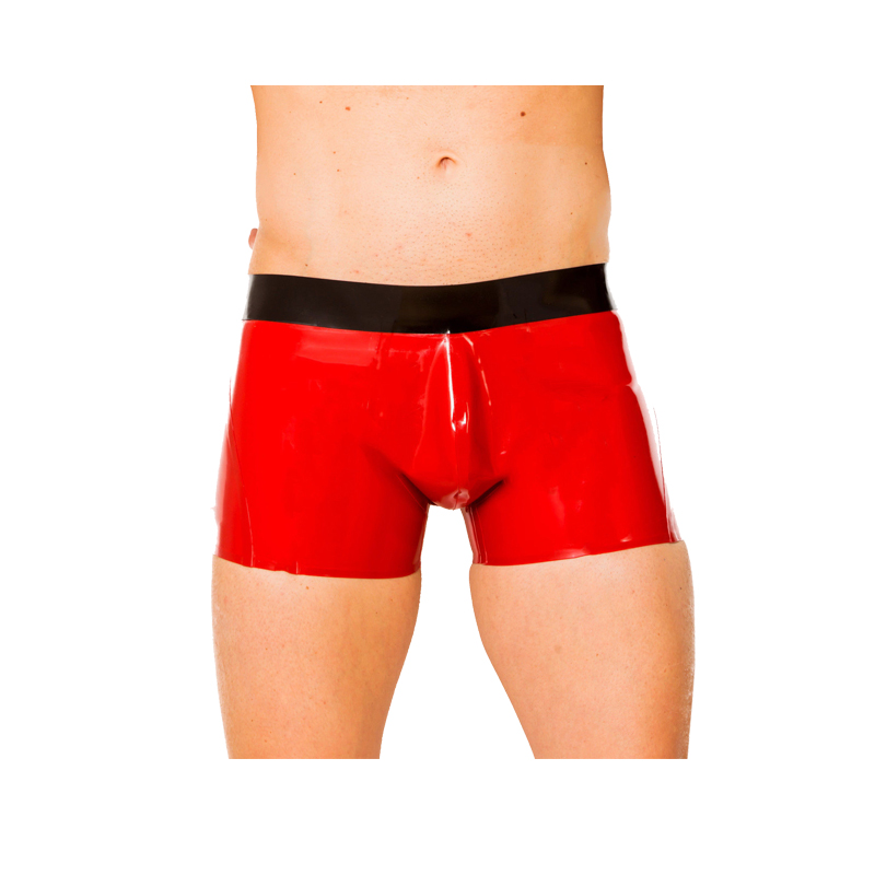 100% 2019 New Latex Noir Taille et Rouge Boxer Shorts sous-vêtements serrés Taille XXS-XXL