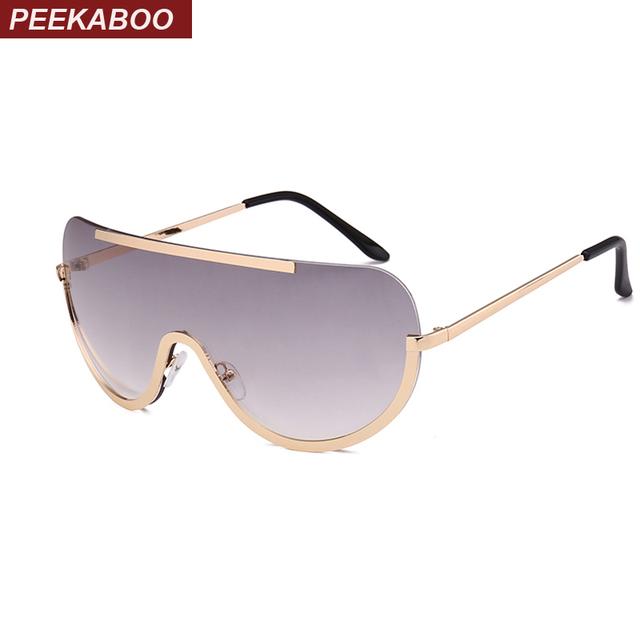 Peekaboo red oversized clear lens sunglasses women brand designer one lens half frame sun glasses for men and women large uv400