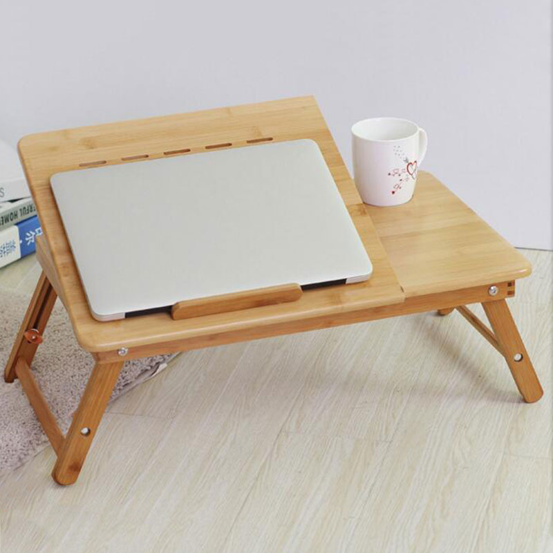 Image 2 - Actionclub Portable Folding Bamboo Laptop Table Sofa Bed Office Laptop Stand Desk With Fan Bed Table For Computer Notebook BooksLaptop Desks   -